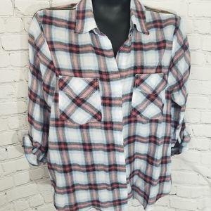 Button front, zip shoulder plaid shirt